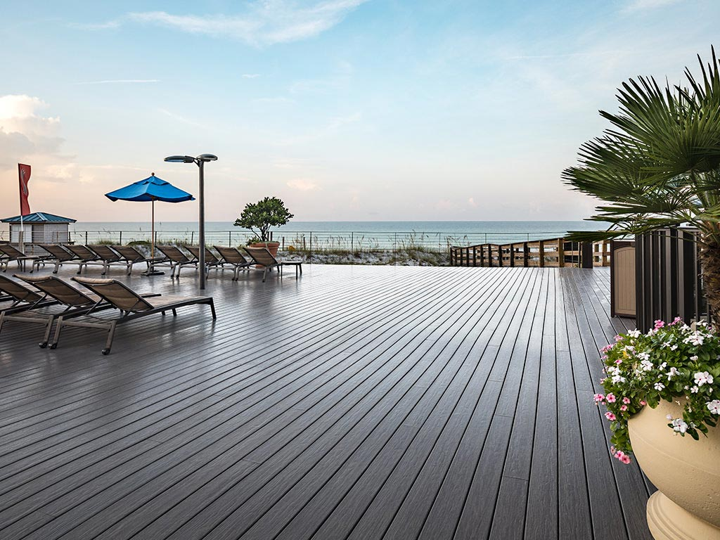 Glossy decking overlooking the ocean