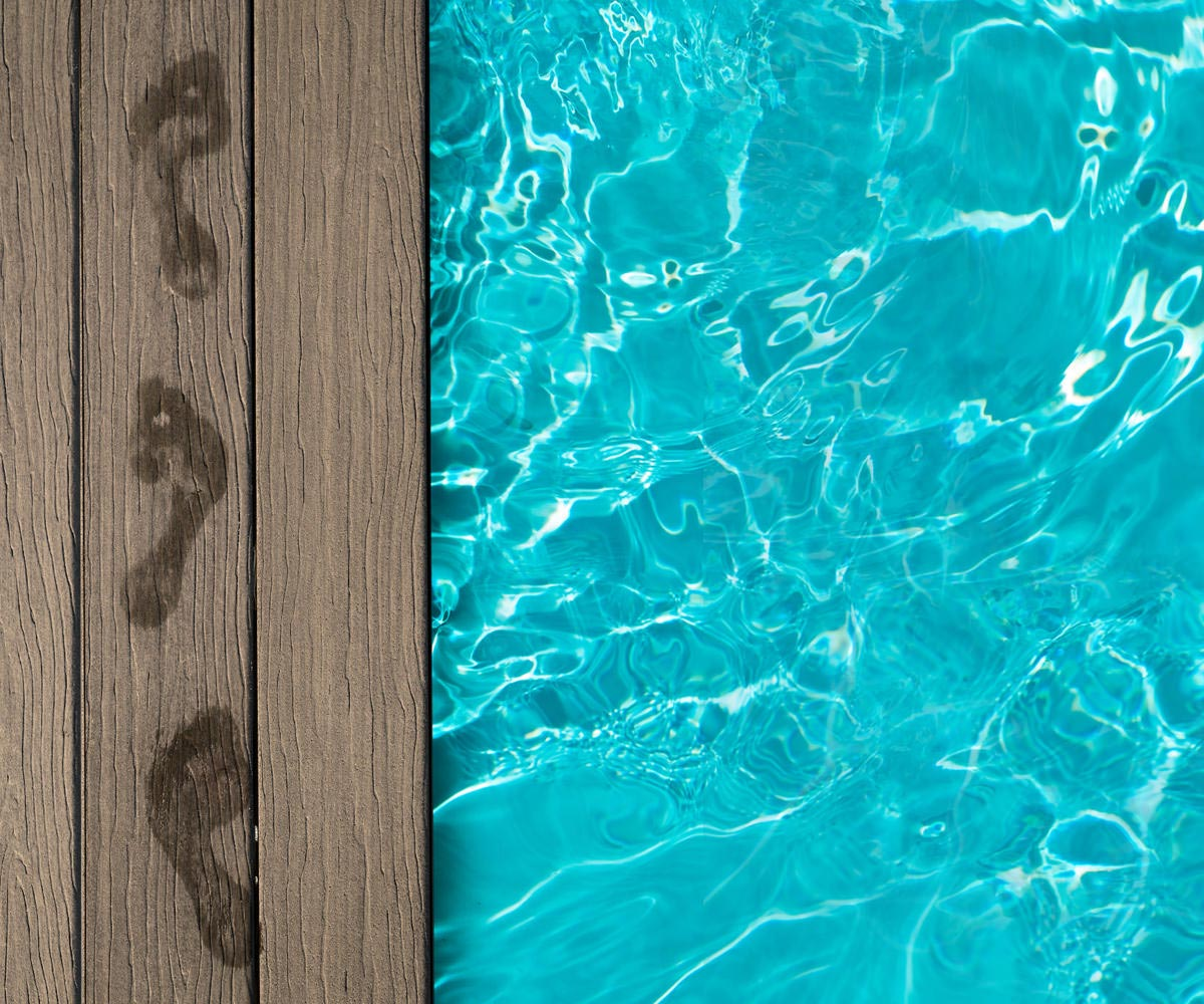 Poolside decking with footprints