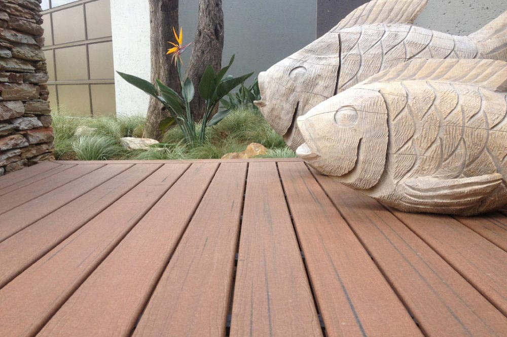 Deck closeup with ornamental fish statues
