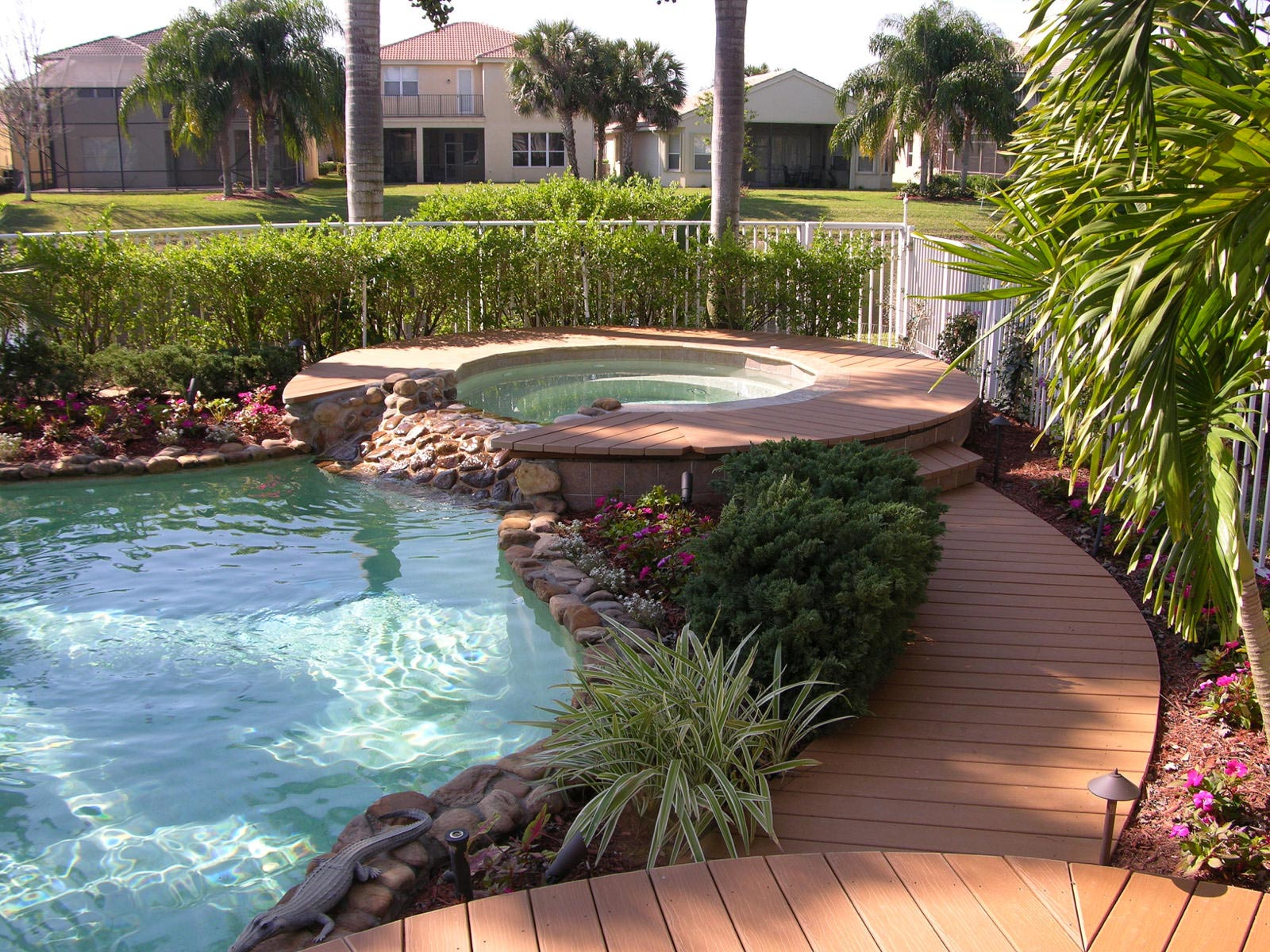 Pool and hot tub with decking