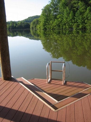 Dock with ladder overlooking water