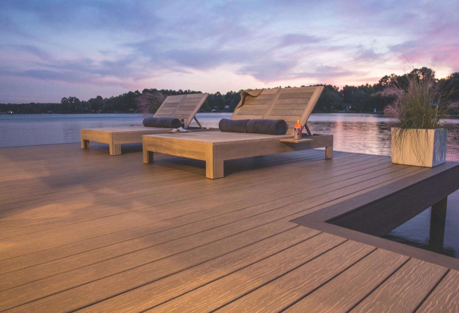 Deck with chairs at dusk