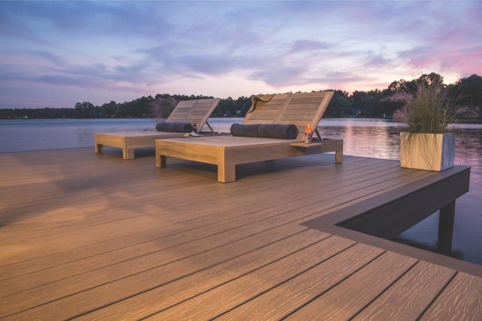 Dock with chairs at dusk