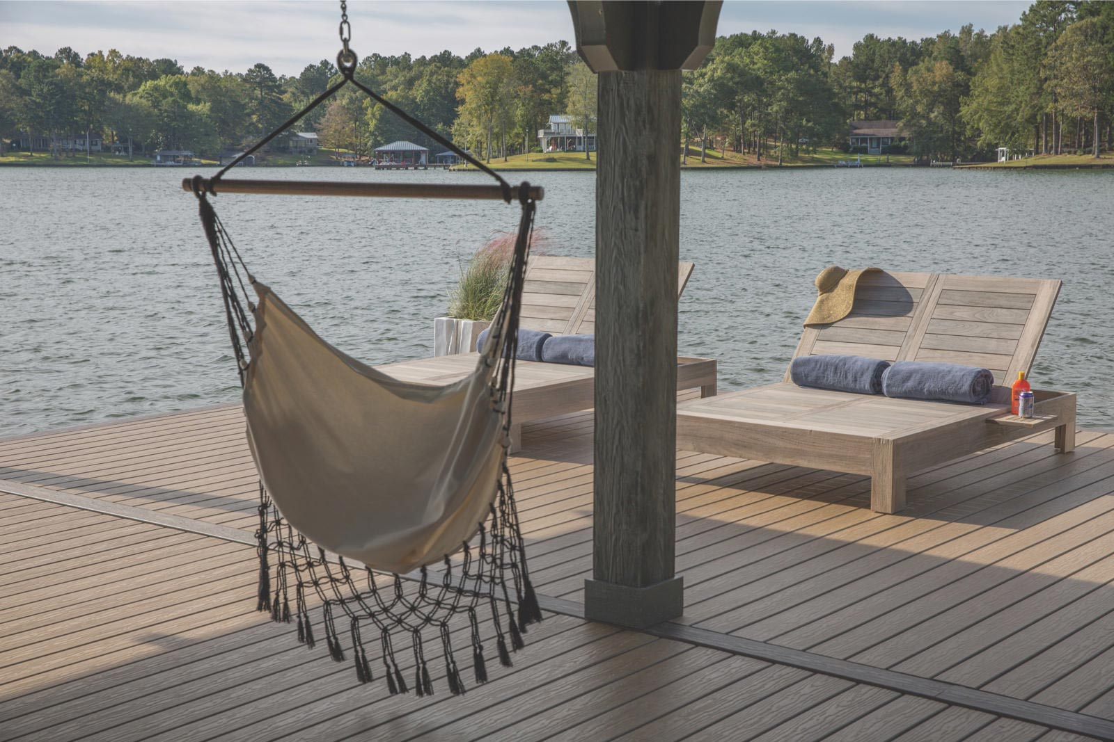 Dock with hammock and chairs