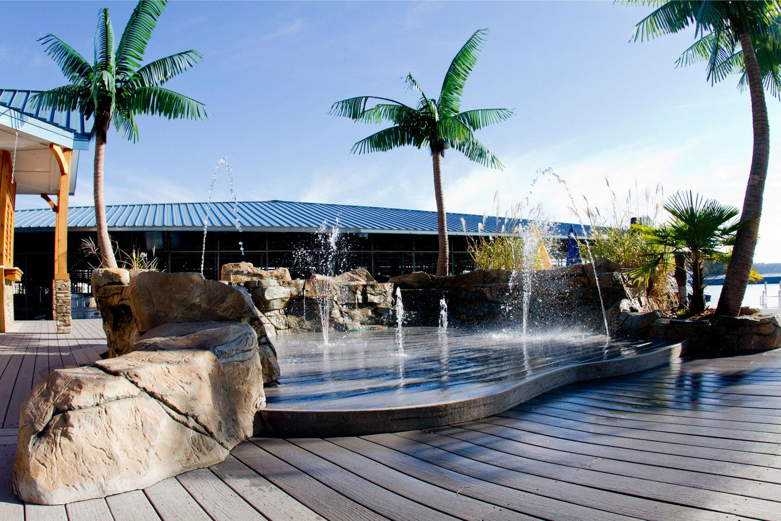 Decking at tropical waterpark