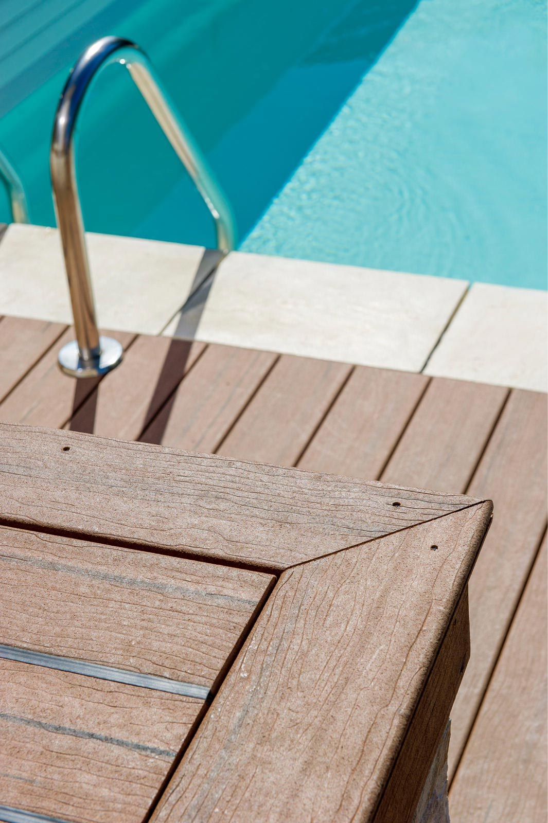 Pool with decking closeup