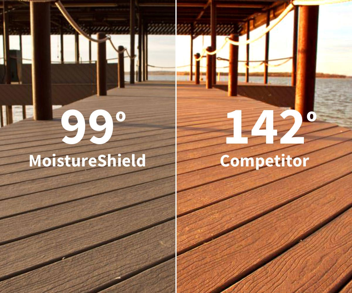 MoistureShield deck 99 degrees, competitor deck 142 degrees