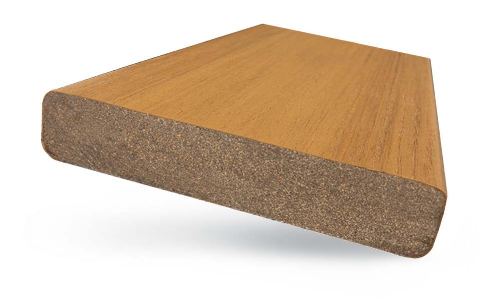 Close view of MoistureShield's Meridian composite decking board cross section.